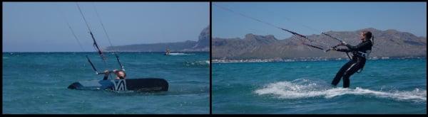 1 Sofie erste Wasserstart Kite-Kurs Mallorca im Juli mallorca kiteschool com