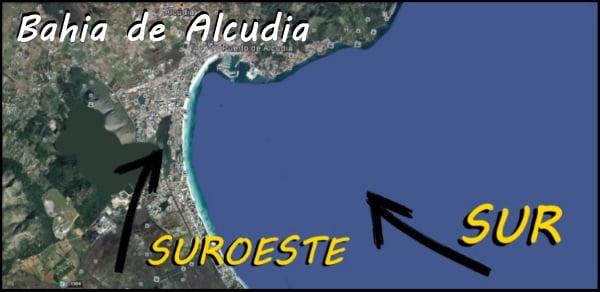 1 bahia de Alcudia viento de sur mallorca kiteschool en Abril