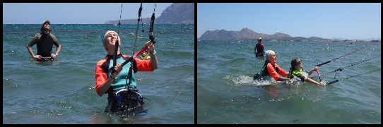 1 kitesurfing courses in Mallorca in April Lilli is learning