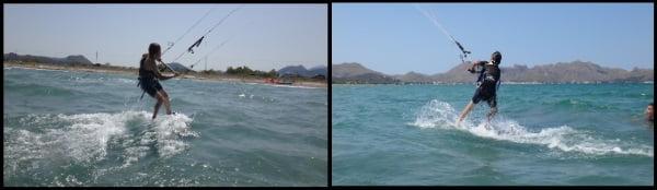 5 water start Evan kids kite course on Mallorca April