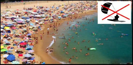 8 kitesurfen Sie nichts beim sehr belebter Strand