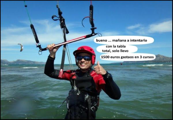 Dani primera clase de kitesurf mallorca Julio y Agosto verano en Pollensa
