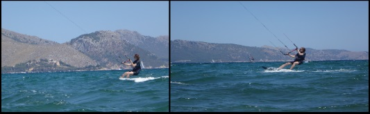 Julia reitet in Richtung Alcudia mallorca kiteschule hier ist sie richtung kitesurfing club mallorca