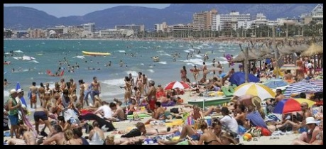 Playa de Palma and El Arenal beaches during tourist season