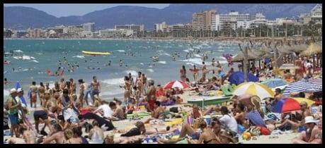 Playa de Palma and El Arenal beaches during tourist season