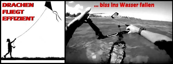 drachen fliegt effizient bis ins Wasser fallen mallorca kiteschool kitekurs in Juli