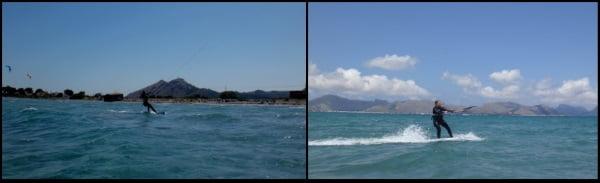 Kitesurfen in der Ferne und Rückkehr zum Strand Sofie Kite Kurs Juli