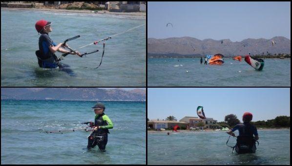 2 Sebastian learning swedish kite students in Alcudia to relaunch kitesurf en Mallorca