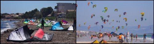 2  viele Schirme am strand Mallorca kiteschule Pollensa Bucht in Mai