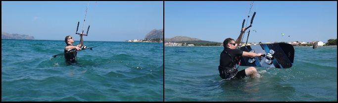 Auf dem Kiteboard stehen Vincent kitekurs Juli auf Mallorca