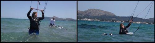 Claudia erste wasserstart kitesurfen Mallorca