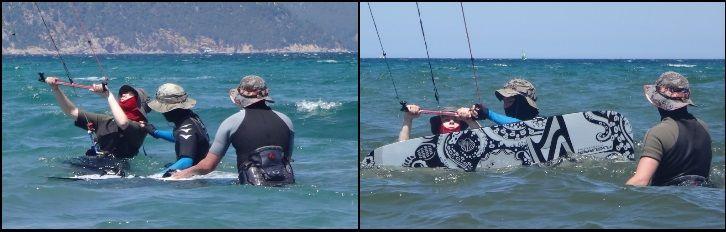 Der Kitelehrer hilft ihr und erinnert sie an die Vorgehensweise