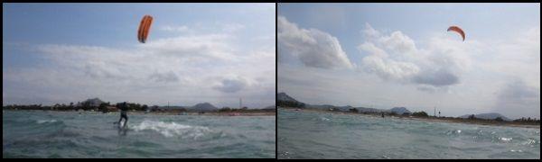 Die Windstärke im Moment des Kiteunterrichts lag zwischen 10 und 12 Knoten