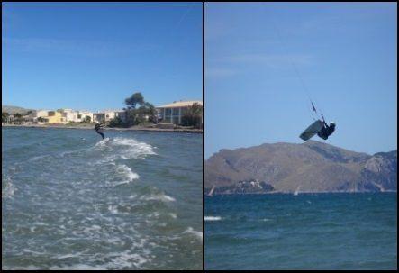 Es Barcares Mallorca deutsche kitekurs monitor Fliegt über die Berge