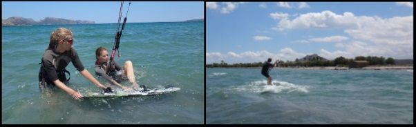 Lea and Anna kitesurfing lessons in Alcudia in June