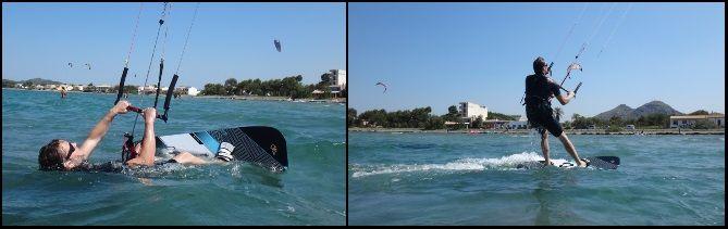 Wasserstart beim Kitesurfen Vincent wind auf Pollensa