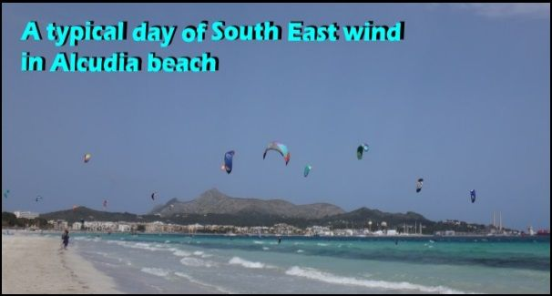 a typical sout south west wind kitesurfing conditions in Puerto de Alcudia