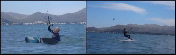 in seiner 6. Stunde begann er sich auf dem Kiteboard kitekurs April auf Pollensa