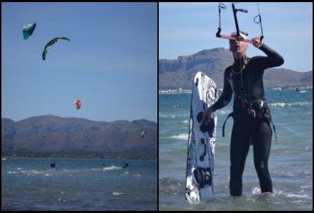 neuer Kitesurfer bereit für Waterstart in kitekurse mallorca