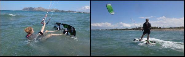 shallow friendly water kite course danish girls Mallorca