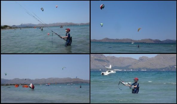 starts steering the kite towards the right and left side