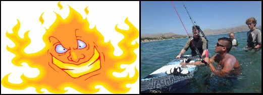 1 burning sun and kitesurfing