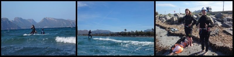 Agnieszka kitesurfing lessons in April in Mallorca with Asociuacion Aprende a Navegar