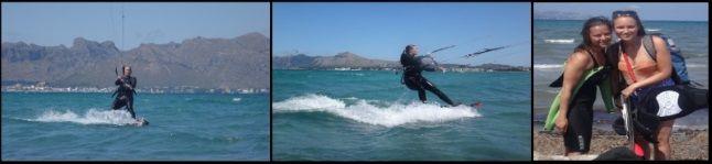 Sofie y las 3 primeras horas del curso de kitesurf con mallorca kiteschool