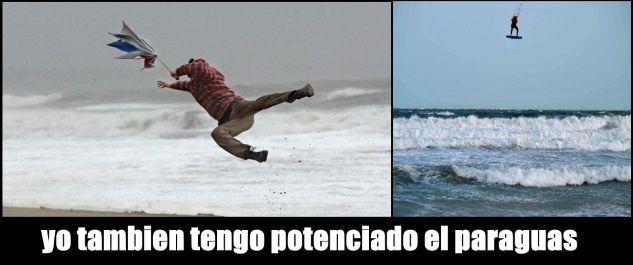 paraguas potenciado kitesurf peligroso