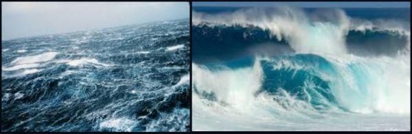 mar embravecido a causa del viento y olas rompiendo en la orilla